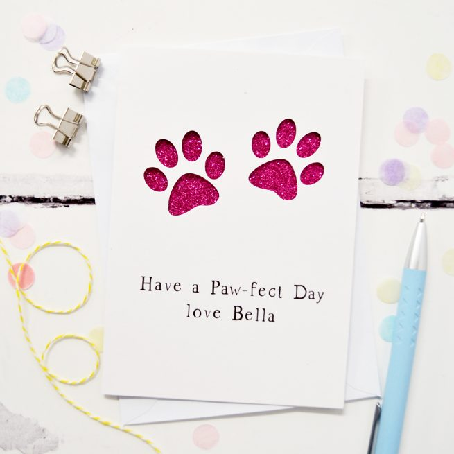 Personalised Paw Prints Glitter Cut Out Card in White and Fuchsia Glitter