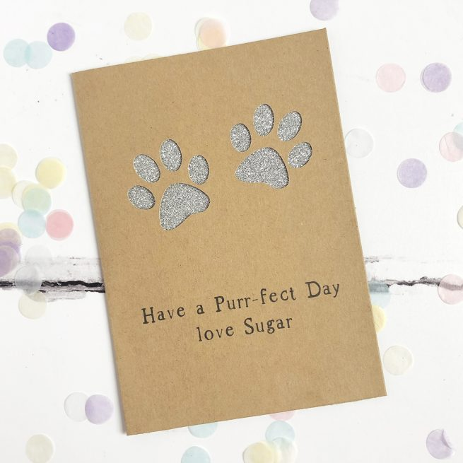 Personalised Paw Prints Glitter Cut Out Card in Kraft and Silver Glitter