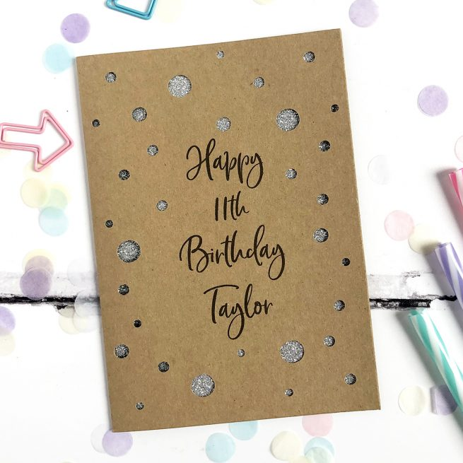 Personalised Polka Dot Age Glitter Cut Out Card in Kraft and Silver Glitter