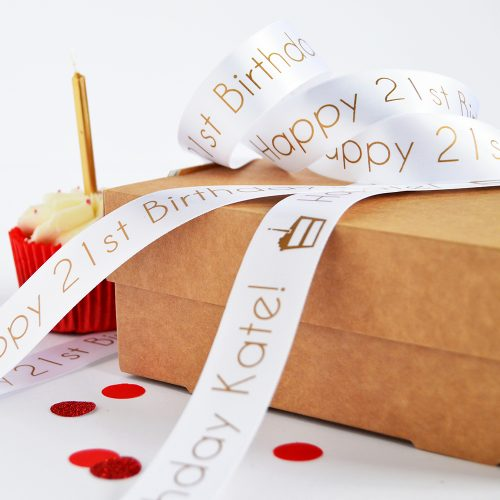 25mm Personalised Birthday Ribbon in White with Matt Antique Gold Print