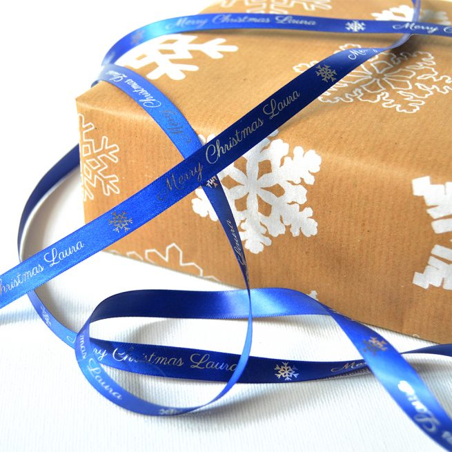 Royal Blue Personalised Christmas Ribbon 10mm with Metallic Silver Print