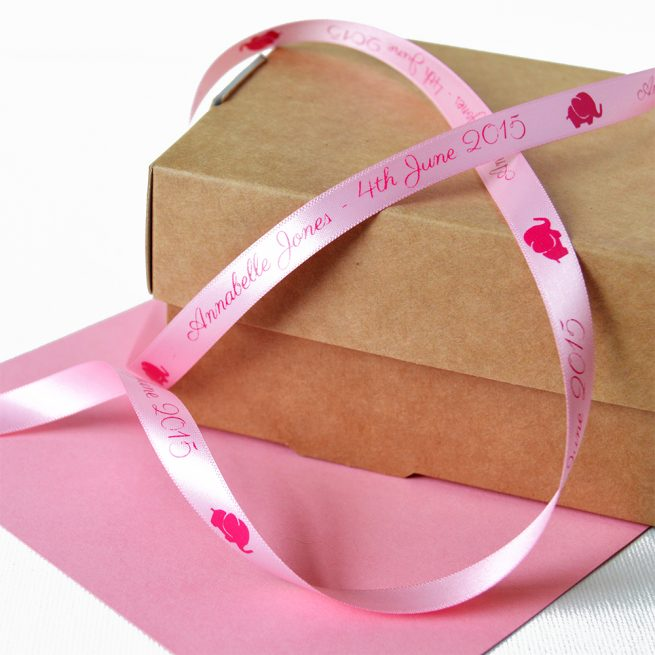 Pastel Pink Personalised Christening Ribbon 10mm with Pink Print