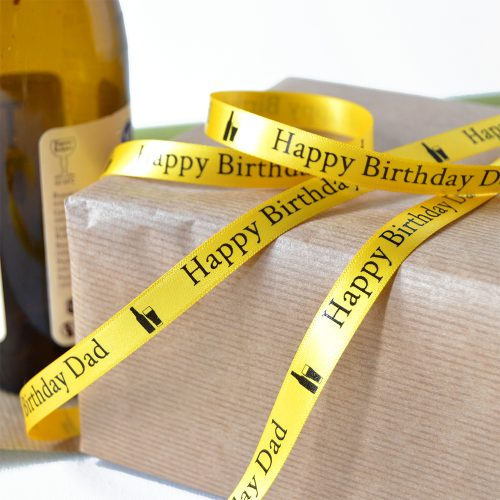 10mm Personalised Birthday Ribbon in daffodil yellow with Black Print