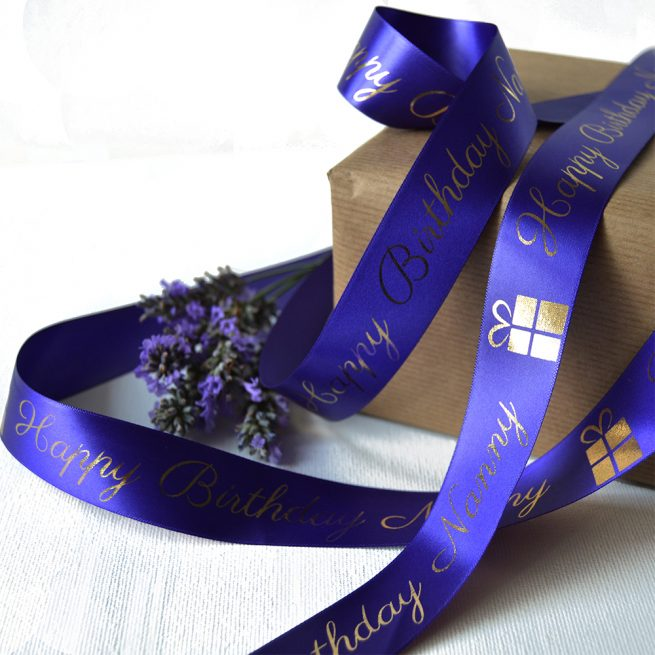 25mm Personalised Birthday Ribbon in Purple with Metallic Gold Print