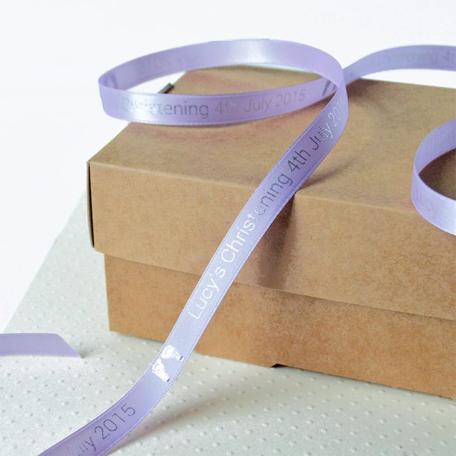 Lilac Personalised Christening Ribbon 10mm with Metallic Silver Print
