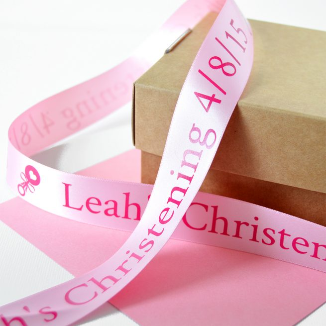 Pastel Pink 25mm Personalised Christening Ribbon with Pink Print