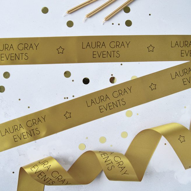 48mm Business Branded Ribbon in antique gold with black print