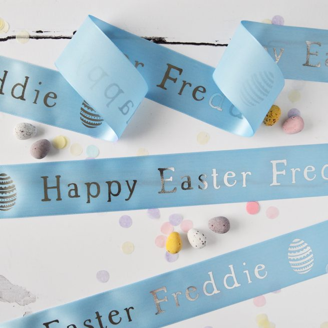 48mm Personalised Easter Ribbon in pastel blue with silver metallic print