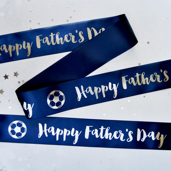 48mm Personalised Father's Day Ribbon in navy with matt silver print