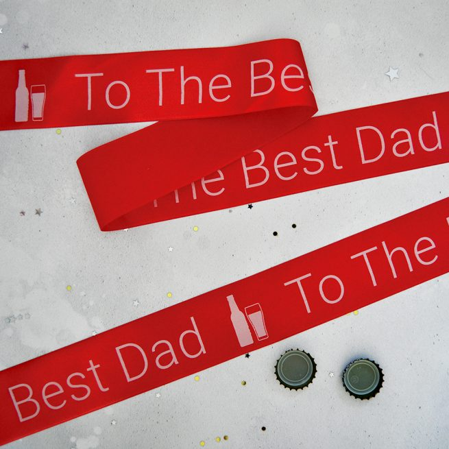 48mm Personalised Father's Day Ribbon in red with white print