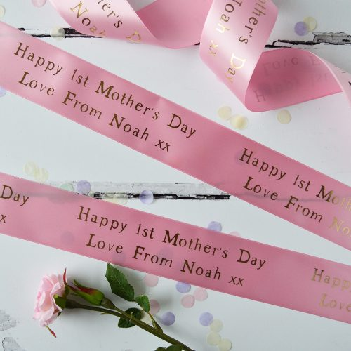 48mm Personalised Mother's Day Ribbon in pastel pink with gold metallic print