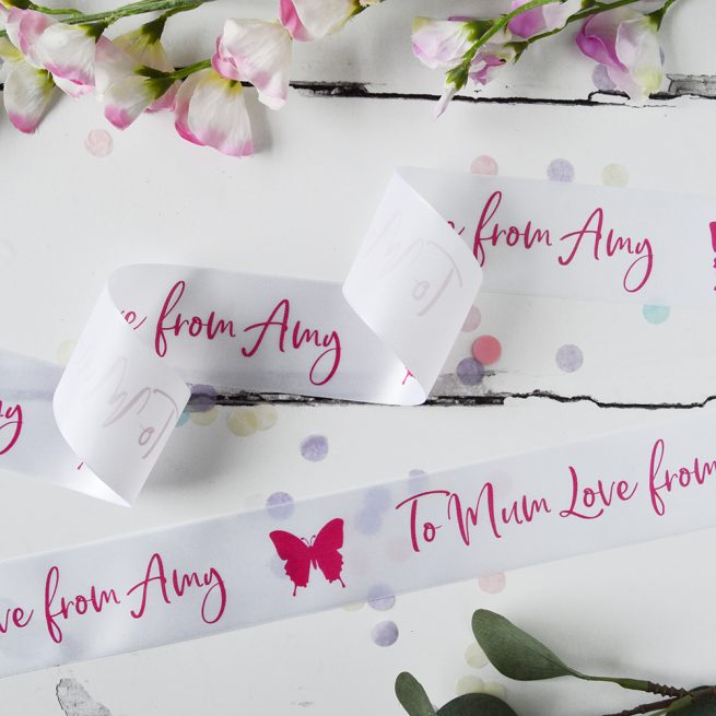 48mm Personalised Mother's Day Ribbon in white with pink print