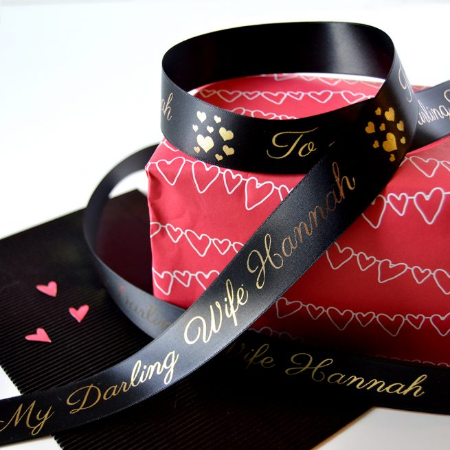 25mm Personalised Valentine's Day Ribbon in black with Metallic Gold Print