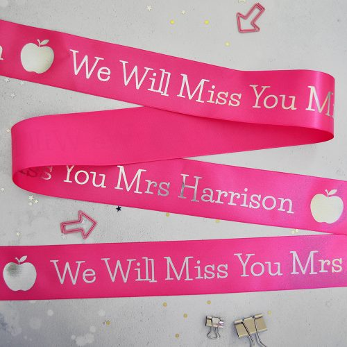 48mm Personalised Thank You Teacher Ribbon in fuchsia with white print
