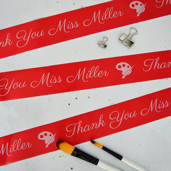 48mm Personalised Thank You Teacher Ribbon in red with white print