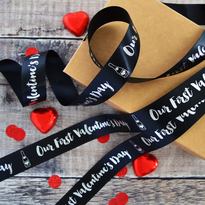 25mm Personalised Valentine's Day Ribbon in black and white