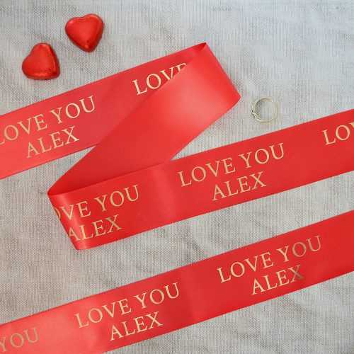 48mm Personalised Valentine's Day Ribbon in red with gold print