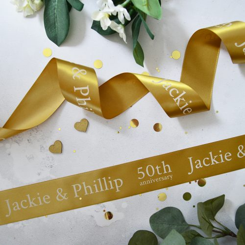 48mm Personalised Anniversary Ribbon in Antique Gold and White print