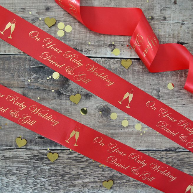 48mm Personalised Anniversary Ribbon in Red with Matt Antique Gold print