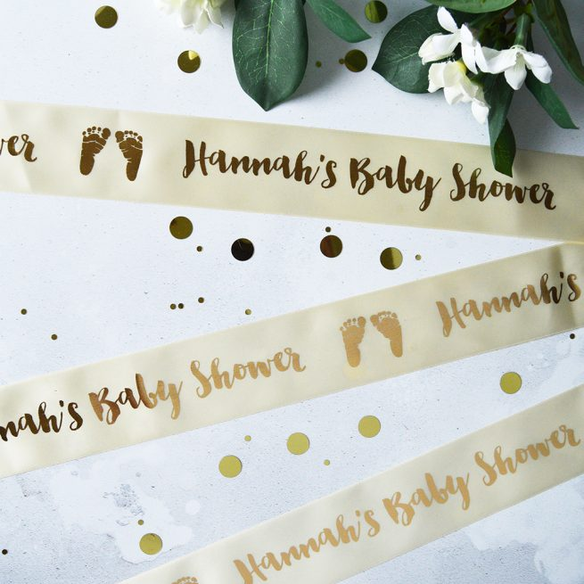 48mm Personalised Baby Ribbon in Cream with Matt Antique Gold print