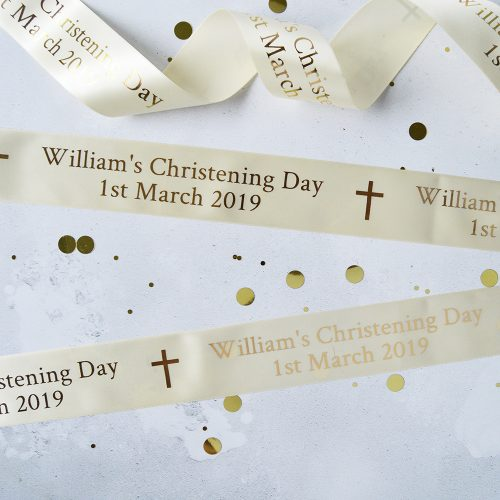 48mm Personalised Christening Ribbon in Cream with Metallic Gold print