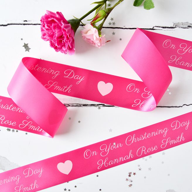 48mm Personalised Christening Ribbon in Fuchsia with White print