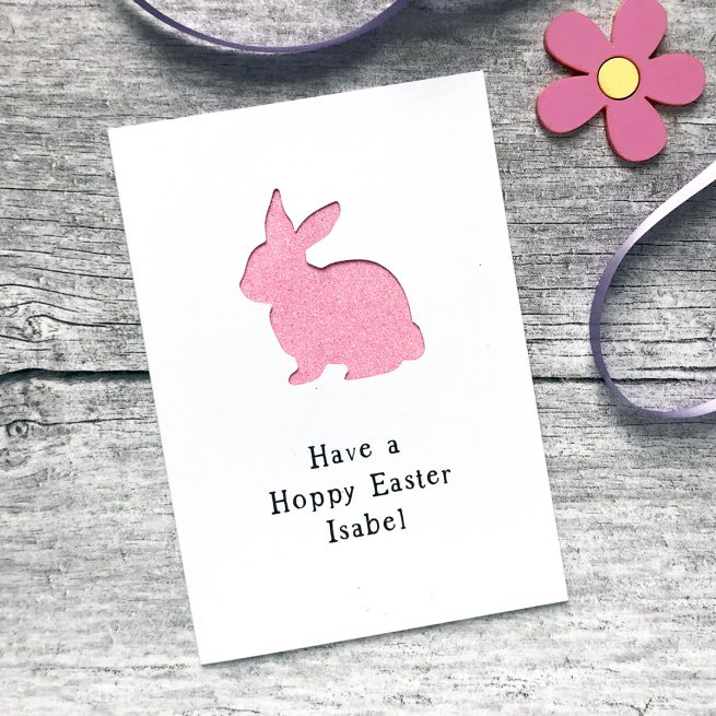 Personalised Easter Rabbit Glitter Cut Out Card in White and Bright Pink