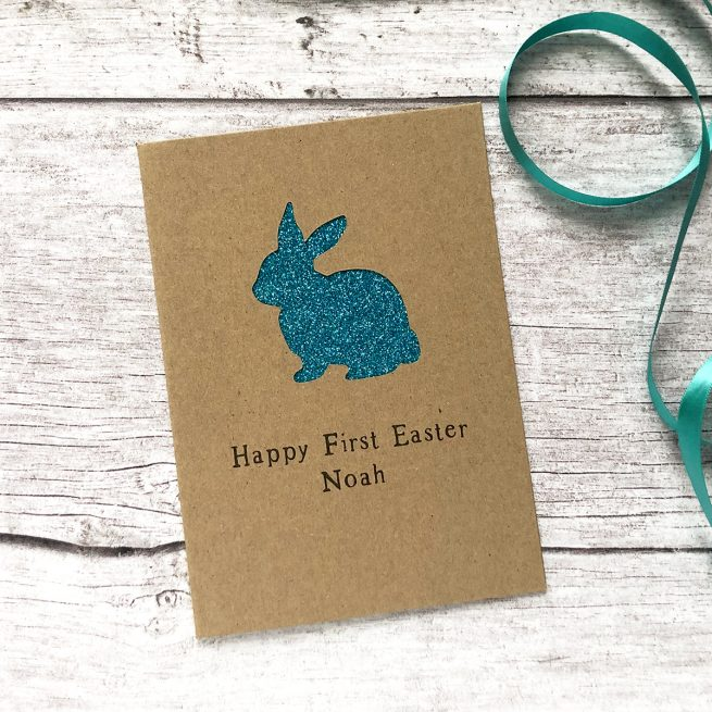 Personalised Easter Rabbit Glitter Cut Out Card in Kraft and Turquoise