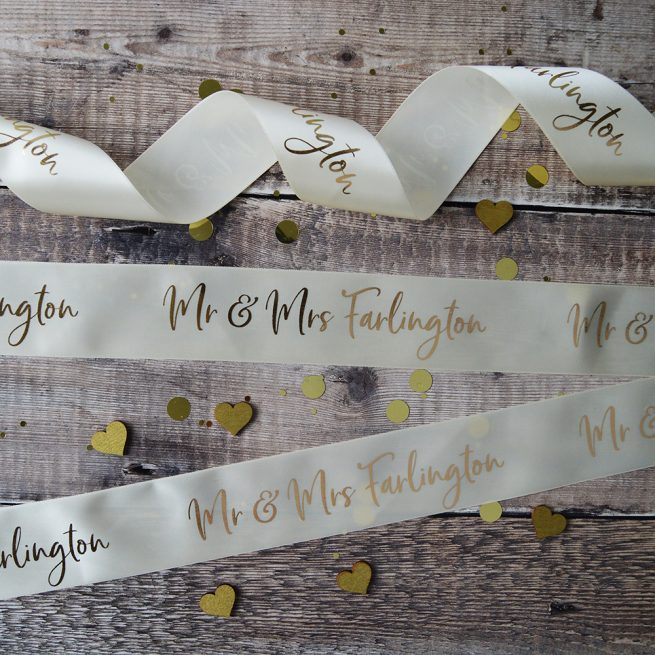 48mm Personalised Wedding Ribbon in Cream with Matt Antique Gold print