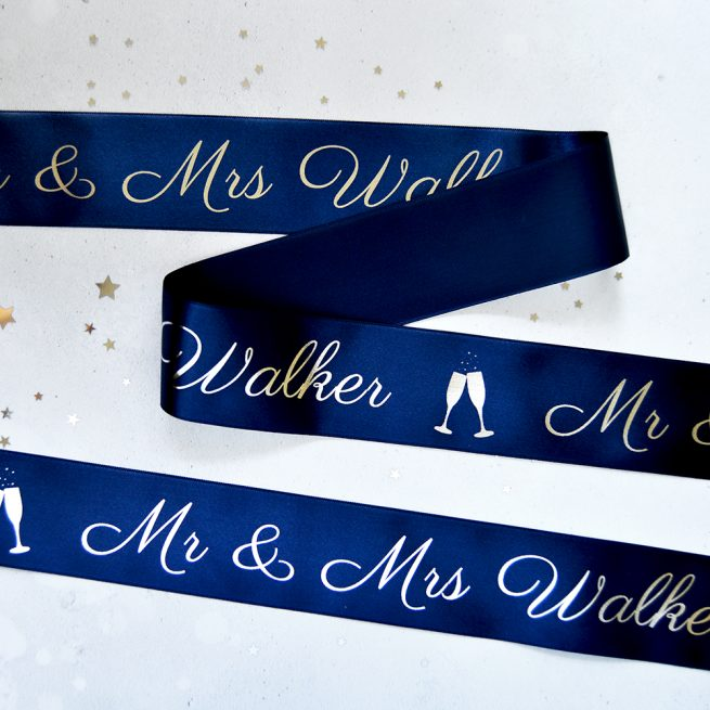 48mm Personalised Wedding Ribbon in Navy with Metallic Silver print