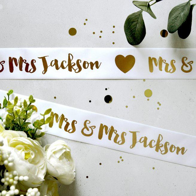 Metallic Gold print on White 48mm Personalised Wedding Ribbon