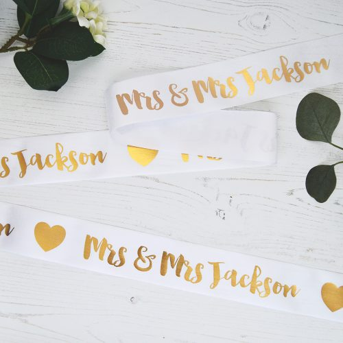48mm Personalised Wedding Ribbon in White with Metallic Gold print