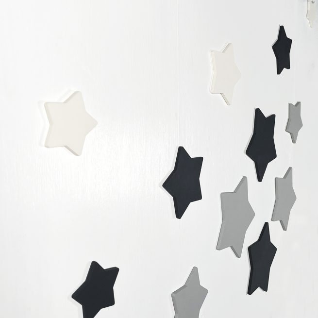 Black White and Grey Hand Painted Wooden Stars Home Decor