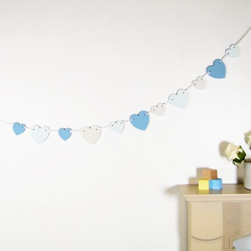 Blue Wooden Heart Bunting