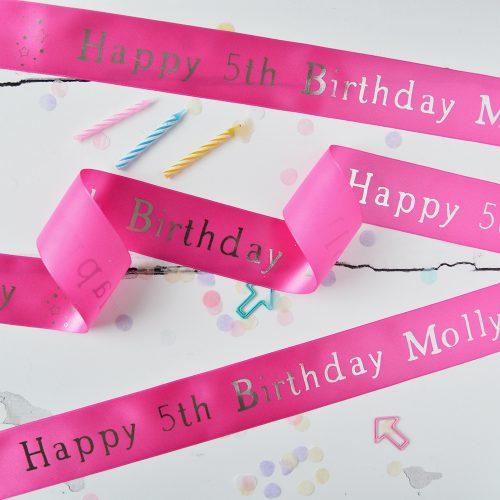 48mm Personalised Kid's Birthday Ribbon in Fuchsia with Metallic Silver print