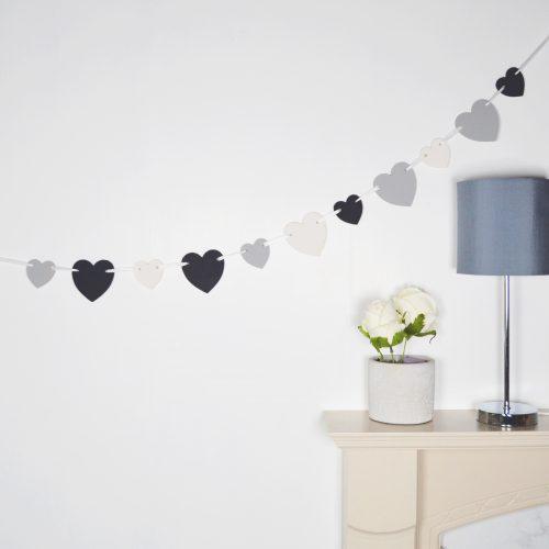Black & White Wooden Heart Bunting