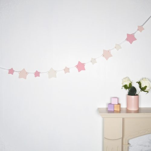 Pink Wooden Star Bunting