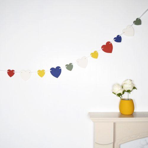 Rainbow Wooden Heart Bunting