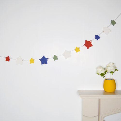 Rainbow Wooden Star Bunting