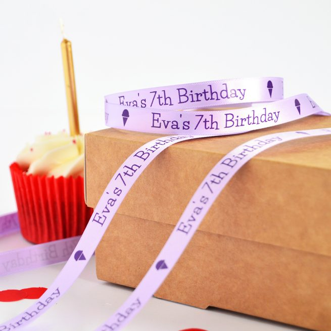 10mm Personalised Kid's Birthday Ribbon in Lilac with Purple Print