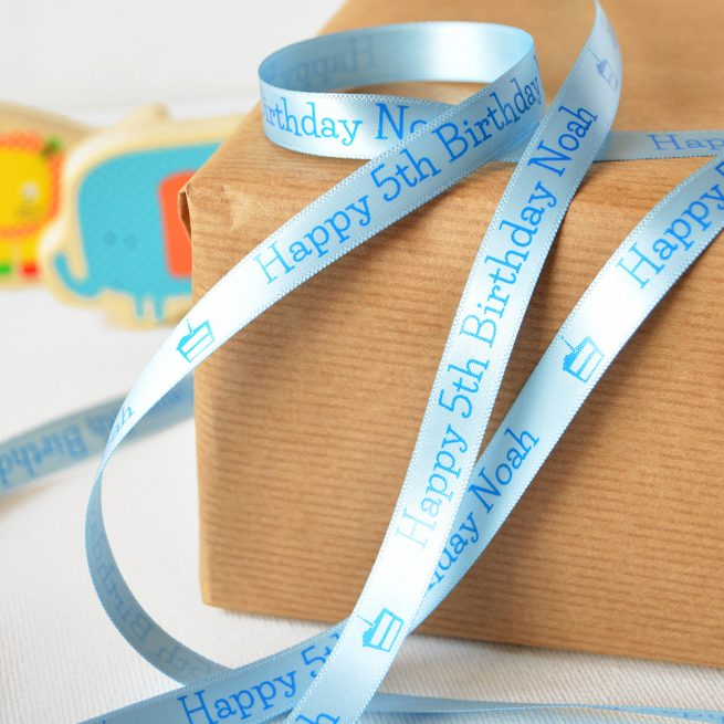 10mm Personalised Kid's Birthday Ribbon in Pastel Blue with Blue Print