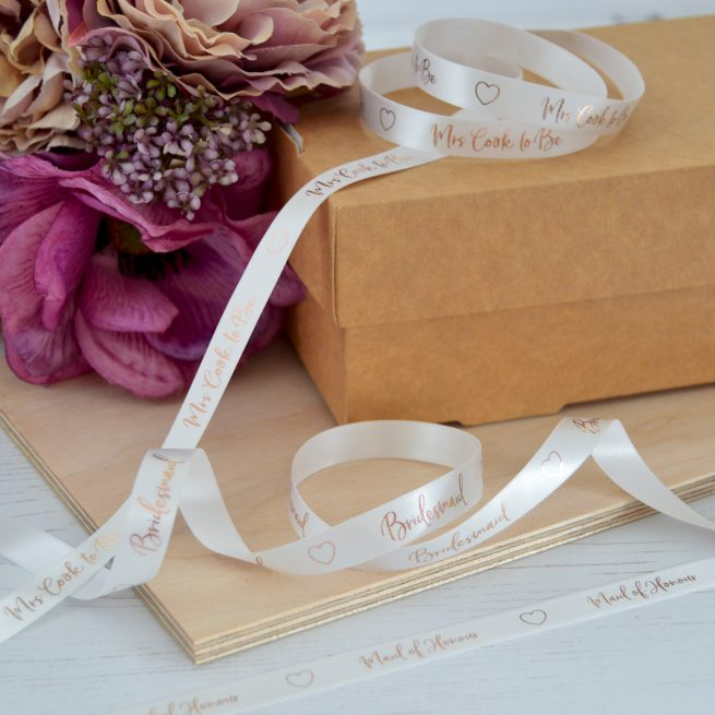 10mm Personalised Hen Party Ribbon in Bridal White with Metallic Rose Gold print
