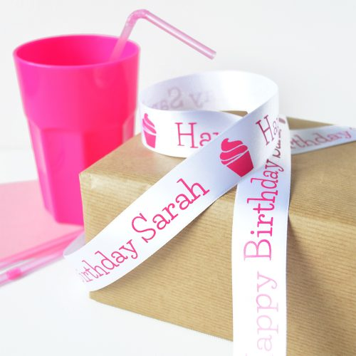 25mm Personalised Kid's Birthday Ribbon in White with Pink Print