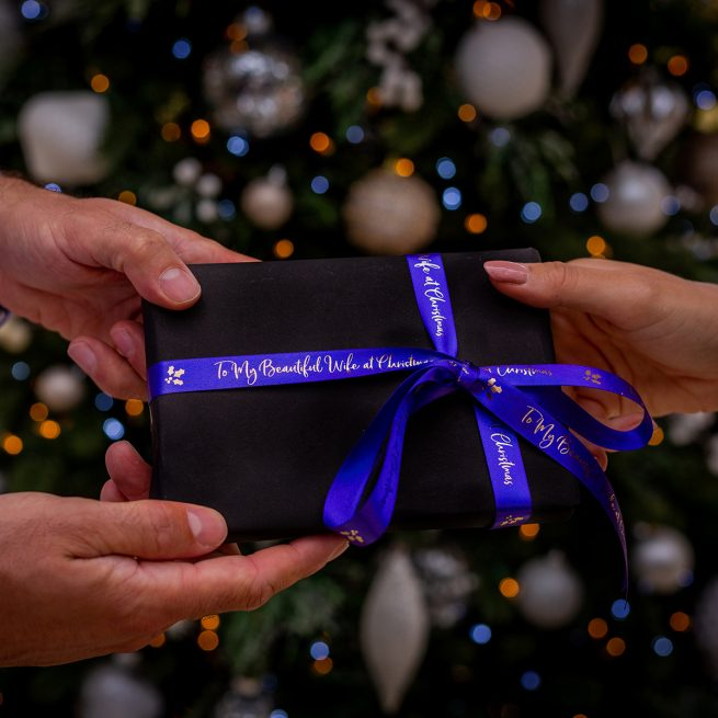 15mm Personalised Christmas Ribbon in Royal Blue with Metallic Silver Print