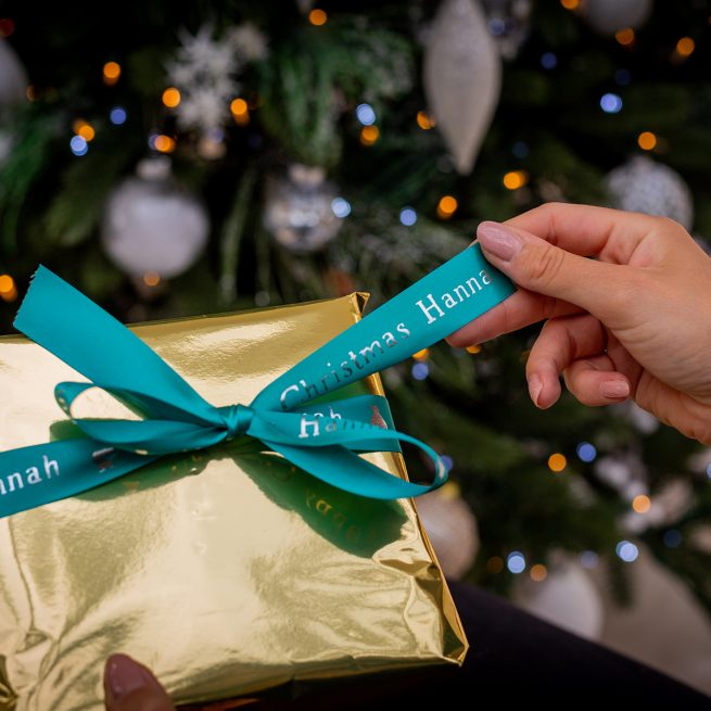 25mm Gift Ribbon for Christmas in Aqua with Metallic Silver Personalised Print
