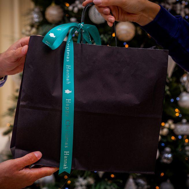 25mm Personalised Christmas Ribbon in Aqua with Metallic Silver Print