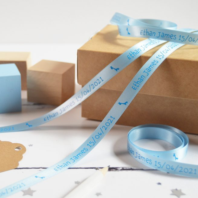 10mm Personalised Baby Ribbon in Pastel Blue with Cyan Blue Print