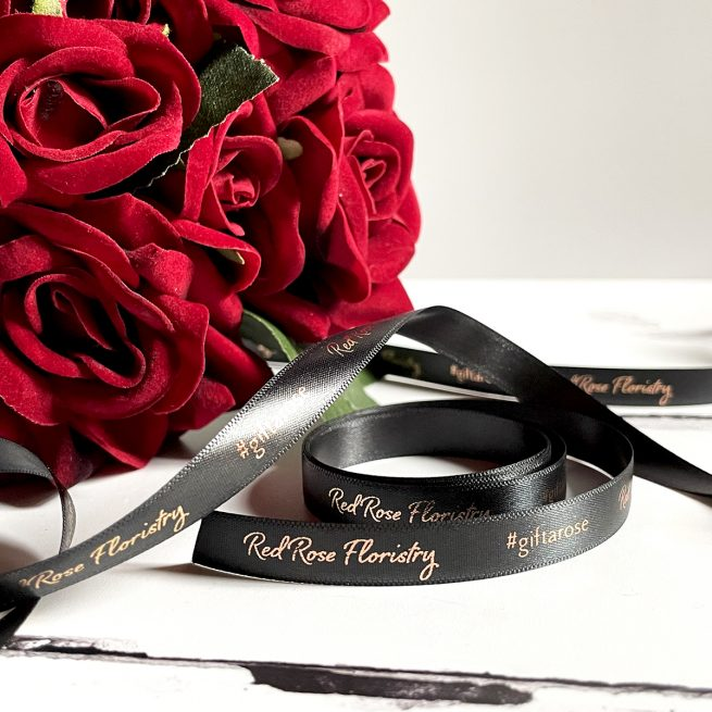 10mm Business Branded Ribbon in Black with Metallic Rose Gold Print