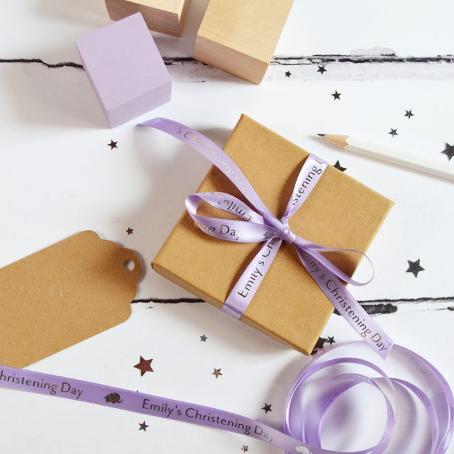 10mm Personalised Christening Ribbon in Lilac with Metallic Silver Print