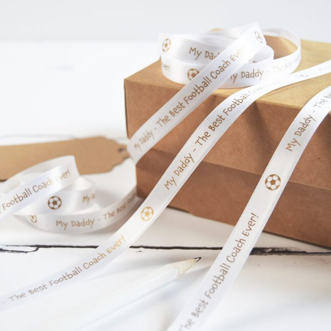 10mm Personalised Father's Day Ribbon in White with Matt Antique Gold Print